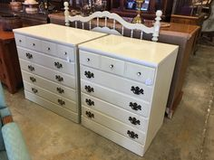 Two small chest of drawers ($125 each) and lovely creme twin headboard and footboard ($175) #bedroom #design #decor #forsale #sale #mk #consignment #home #house #apartment #girlsroom #kidsroom #bed #dresser #chest #homedecor #homedesign #white #deal #consignment #mk #deal #shop #local #store #furniturestore