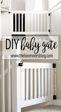 Custom Wooden DIY Baby Gate for Stairs and Hallways is part of diy-home-decor - Make your own DIY custom baby gate to install at the top of stairs or in hallways These baby gates can be customized to fit your space & match your decor Wood Baby Gate, Baby Gate For Stairs, Diy Baby Gate, Wooden Gates, Wooden Stairs, Custom Baby Gates, Best Baby Gates, Diy Gate, Diy Dog Gate