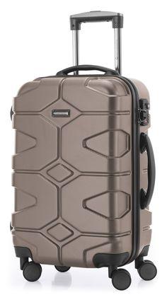 Members Boston léger imitation daim QUATRE ROUES tournantes baggage - Marron, Medium - 67 x 42 x 28/31 cm - 3.4 kg