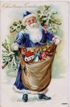 Vintage Christmas postcard by MERR