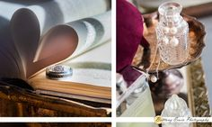 Real Fishers Indiana wedding at the Historic Ambassador House and Heritage Gardens | Detail photo of engagement ring and wedding bands on old book with heart shaped pages and pearl earring and necklace on antique tray and bottle | (c) Brittany Erwin Photography