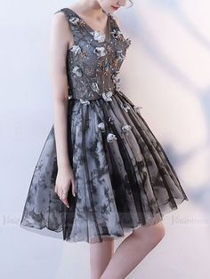 Black & Gray Floral Homecoming Dresses with Corset Back SD1003B – Viniodress Corset, Floral Homecoming Dresses, Tulle, Chiffon, Black And Grey, Gray, Gorgeous Dress, Dresses For Teens, Ball Gowns