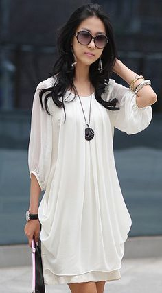 Chiffon Scoop Neck 3/4 Sleeves Fairy Style Solid