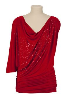 Drape Neck Embellished One Shoulder Top - maurices.com   $29 PLEASE PLEASE PLEASE can has?!?!