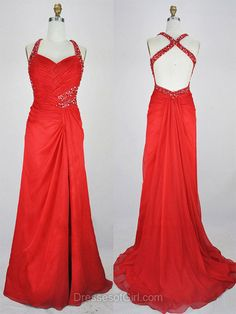 Backless Prom Dresses, Red Prom Dress, Chiffon Evening Gowns, Cheap Party Dresses, V Neck Formal Dresses