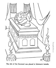 The Ark of the Covenant coloring page to print.  This could be used with the lesson about the Tabernacle.  The lesson can be found at http://missionbibleclass.org/old-testament-stories/old-testament-part-1/exodus-through-12-spies/the-tabernacle/
