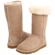 UGG Classic Tall (Sand) Women's  Boots (210 CAD) ❤ liked on Polyvore featuring shoes, boots, uggs, shoes - boots, knee-high boots, pull on boots, tall knee high boots, long knee boots, knee high boots and tall boots