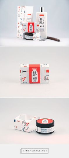 Graphic design and packaging for The Milk Man, Mens Grooming Products on Behance by Victoria Kosecki Toronto, Canada curated by Packaging Diva PD. Cute concept for mens grooming products.