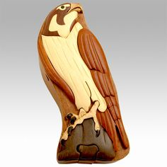 $24.94 - Peregrine Falcon Intarsia Wooden Puzzle Box by The Handcrafted - Winging his way to Texas tomorrow. Fly away, big bird... Fly away...
