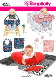 Baby Accessories: Baby Seat Sewing Pattern 4225 Simplicity. This pattern pack has the boppy cover pattern. Can't have too many boppy covers.