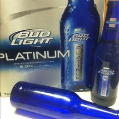 New Bud Light Platinum light beer (12 oz., 137 calories, 6% alc.) The best news? It comes in cobalt blue bottles perfect for making lots of bottle trees!!  :)  More affordable than those expensive wine or vodka bottles!  So long to eBay sellers making a big profit on selling blue bottles!