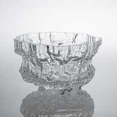 "TAPIO WIRKKALA - Glass bowl ""Miracus"" 3433 for Iittala, in production 1970-1977, Finland. [Ø 30 cm, h. 18 cm] Glass Design, Design Art, Nordic Design, Lakes, Finland, Scandinavian, Ceramics, Texture, Inspiration"