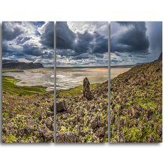 DesignArt Rocky Coastline Iceland Panorama - 3 Piece Graphic Art on Wrapped Canvas Set