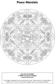 adult coloring page - peace sign tree - printable line art to ... - Peace Sign Mandala Coloring Pages