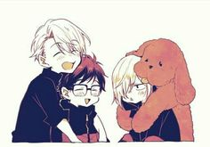 Fan art of Viktor Nikiforov, Yuri Katsuki, Yuri Plisetsky and Viktor's dog Makkachin from the sports anime Yuri! on Ice (ユーリ! on ICE) Katsuki Yuri, Yuuri Katsuki, Yuri On Ice, Sara Crispino, Chibi, Victor Nikiforov, Gekkan Shoujo Nozaki Kun, ユーリ!!! On Ice, Yuri Plisetsky