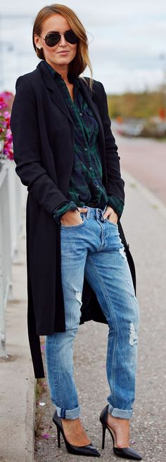 Green Plaid Button Up Fall Street Style Inspo by By Kiki