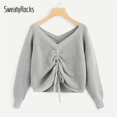 To find out about the Drawstring Detail Solid Sweater at SHEIN, part of our latest Sweaters ready to shop online today! Sweater And Shorts, Jumper, Sweater Outfits, Pullover Mode, Sweater Knitting Patterns, Women Sleeve, Grey Fashion, Womens Fashion, Sweater Fashion