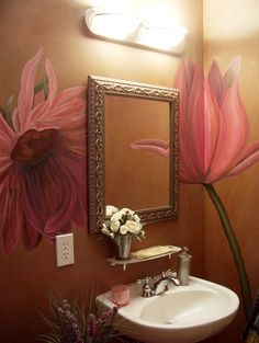 I like this....my half bath is just like this with the pedestal sink and all...wonder if I can get someone to paint a flower on the wall...hmmm #funsidzdgrl