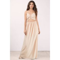 Tobi Earnest Cut Out Maxi Dress ($84) ❤ liked on Polyvore featuring dresses, gold, cut out dresses, pink cutout dress, gold maxi dress, gold neck tie and pink dress