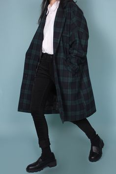 wool check long coat