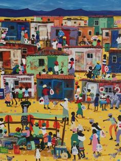 Township Art Acrylic Painting - Busy Morning - Township Scene by Katharine Ambrose South Africa Art, African Artwork, Contemporary African Art, Art Portfolio, Public Art, Cartoon Art, Art Gallery, Funny Pictures, Scene