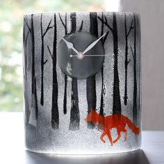 iapetus fused glass mantel clock - moonlit forest - fox by morpheus glass