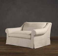 Belgian Roll Arm Slipcovered Chair And A Half