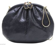 25e3ea8faad6 JUDITH LEIBER Clutch Bag Navy Blue Lizard Leather Gold HW Jewel Clasp   JudithLeiber  ShoulderBagClutch