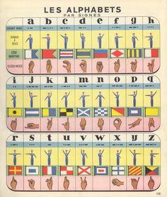 Alphabet: Morse, Hand Signals, Maritime code, Sign Language