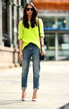 A neon sweater seems overwhelming, but looks cool and casual with boyfriend jeans. | 32 Perfect Fall Outfits