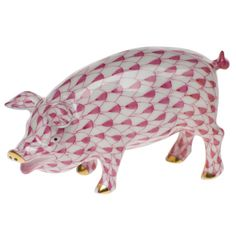 """Herend Hand Painted Porcelain Figurine """"Pig"""" Raspberry Fishnet Gold Accents."""