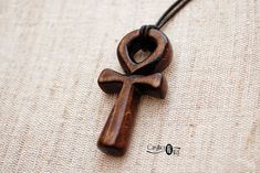 Ankh Necklace - Egyptian Jewelry – Hand Carved Wood Ankh Pendant - CristherArt Ancient Egypt Handcrafted Wood Jewelry Spiritual Symbols, Spiritual Jewelry, Spiritual Gifts, Carved Wood, Hand Carved, Hand Painted, Ankh Necklace, Egyptian Jewelry, Wall Sculptures