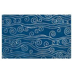 Check out this item at One Kings Lane! Jellyfish Rug, Cobalt/White