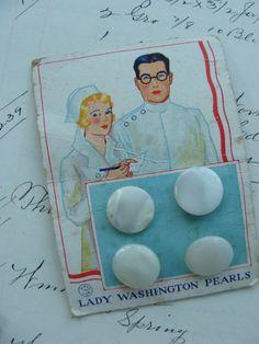 Rare Antique Button Card