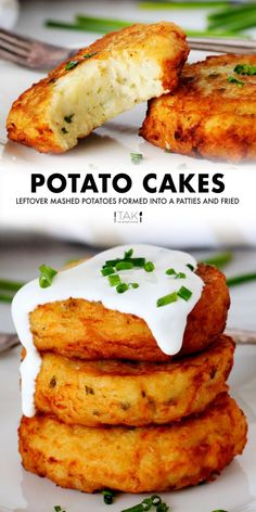 Fried Potato Cakes are the best way to use up leftover mashed potatoes! Just form leftover mashed potatoes into patties and then fry until gorgeously golden brown on the outside, and fluffy, creamy potato heaven on the inside! It's a crispy, flavorful kid-friendly recipe that comes together in just 20 minutes, with only 5 ingredients! Serve it as a side dish for breakfast or dinner.