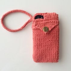STASH WRISTLET - Hand-Knit Phone Case with Back Pocket Card Holder and wrist strap