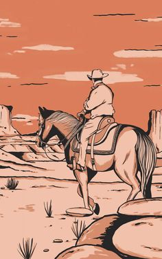 Introduce a cool theme to your child's space that's inspired by the American Wild West with this cowboy horse wallpaper. Orange Wallpaper, Sunset Wallpaper, Print Wallpaper, Comics Vintage, Vintage Comic Books, Cowboy Horse, Cowboy Art, Monument Valley, Playroom Wallpaper