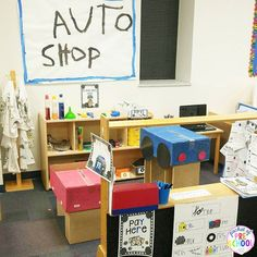 Auto Shop in the dramatic play center! My preschool & pre-k students were learning through play and having a blast. Includes a parent letter, labels, signs, auto report, customer information page, teacher planning web, real classroom photographs, and MORE!