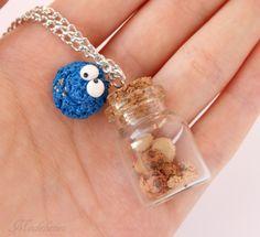 Naszyjnik z Ciasteczkowym Potworem/Polymer clay Cookie Monster necklace  #polymerclay #cookiemonster #necklace