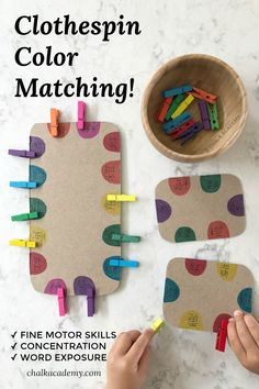 Clothespin Color Matching - Fine Motor Skills Activity made from recycled cardboard for children (toddlers and preschoolers) Best Picture For Montessori practica Fine Motor Activities For Kids, Motor Skills Activities, Toddler Learning Activities, Montessori Toddler, Montessori Activities, Infant Activities, Toddler Preschool, Fine Motor Activity, Preschool Fine Motor Skills