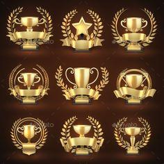 Buy Golden Winner Trophy Cups, Prize Sports Awards by MicrovOne on GraphicRiver. Golden winner trophy cups, prize sports awards with golden wreaths and ribbons. Emblem championship and leadership co. Golden Awards, Game Ui Design, Logo Design, Graphic Design, Trophy Cup, Trophy Design, Sports Awards, Certificate Design, Star Awards