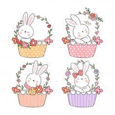 Draw Rabbit In Sweet Basket Flower For Spring Season. Basket Drawing, Bunny Drawing, Spring Drawing, Leaf Illustration, Diy Gift Box, Mothers Day Crafts, Hand Embroidery Patterns, Digi Stamps, Fabric Painting