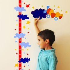 Medidor altura avion y nubes minimoi Wall Decor Stickers, Wall Sticker, White Friday, Growth Chart Ruler, Height Chart, Baby Room, Kids Room, Nursery, Stuff To Buy