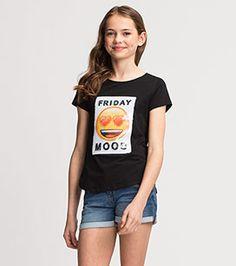 Emoji Kurzarmshirt mit Wende-Pailletten in der Farbe schwarz bei C&A