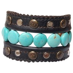 Pre-owned Genuine Handmade Studded Leather Prayers & Planets Cuff... ($219) ❤ liked on Polyvore featuring jewelry, bracelets, accessories, cosmic jewelry, leather jewelry, snap jewelry, preowned jewelry and leather bangles