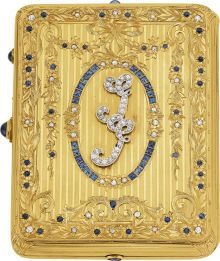 Estate Jewelry:Boxes, Art Deco Montana Sapphire, Diamond, Gold Necessaire, Tiffany