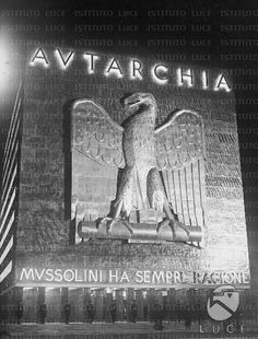 Facade of the Autarchy pavilion at the Exhibition of Italian Minerals, Circus Maximus, Rome, 1938.