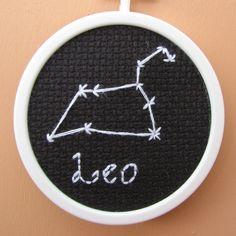 Handmade Cross Stitch Leo Astronomy Star Chart by RikkasCreations on Etsy