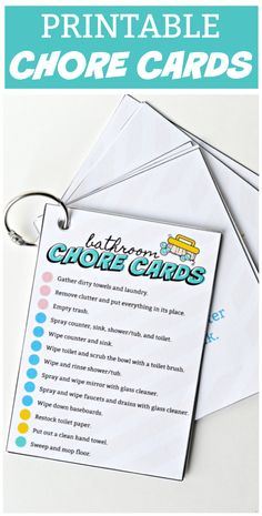 Printable bathroom chore cards for kids and a handy cleaning checklist for mom to make cleaning more manageable, efficient, and fun!    #sponsored #NeverRunOut