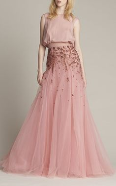 Embroidered Draped Gown by MONIQUE LHUILLIER for Preorder on Moda Operandi